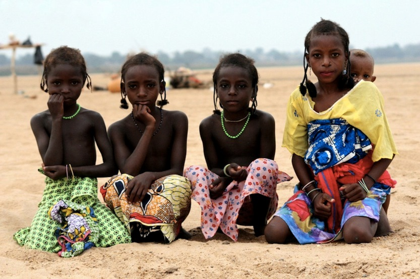 photoblog image Fulani Children on the river Benue